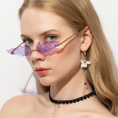 New Fashion Trend Flame Sunglasses Metal Frameless Street Sunglasses European and American Narrow-rim Glasses S9026