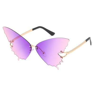 S2033 Butterfly Sunglasses Female Fashion Big Frame Gradient Color Sunglasses Trend Street Photography Sunglasses