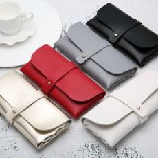 Portable Leather Glasses Case Soft Bag Handmade Sunglasses PVC Leather Handmade Sunglasses Case 16.8*7.6*2.8 cm