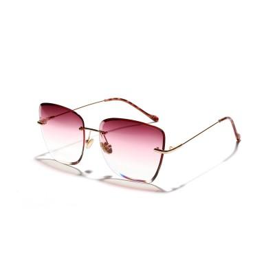 Frameless Big Frame Sunglasses Women New Retro Marine Transparent Color Lens Glasses ight Blocking Computer Glasses for Eye Eyestrain Korean Round Lens for Women Men Eyewear