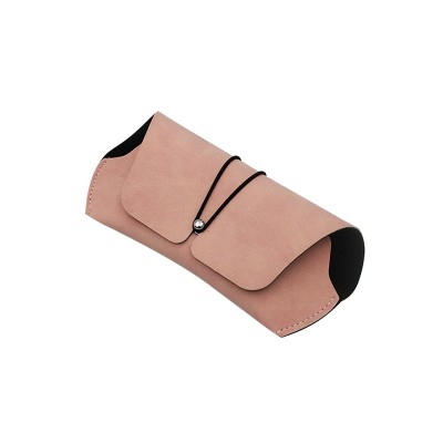 New Style Faux Leather Flocking Lining Sunglasses Case Fashion Buckle Belt Trendy Sunglasses Case Flat Mirror Case