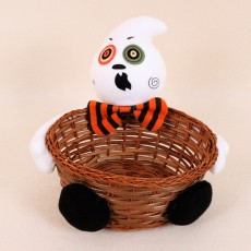 2020 Halloween Decoration Bar Table Layout Hand-woven Fruit Basket Pumpkin Candy Biscuit Basket Bamboo Basket