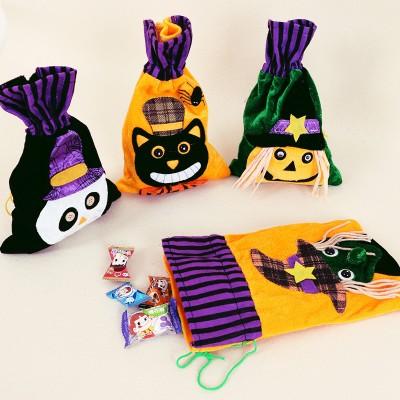 Halloween Cartoon Candy Canvas Bag Pumpkin Head Gift Packaging Bag Pure Cotton Beam Gift Bag Wholesale Spot