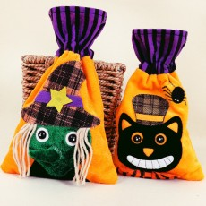 Halloween Cartoon Candy Canvas Bag Pumpkin Head Gift Packaging Bag Pure Cotton Beam Gift Bag Wholesale Spot