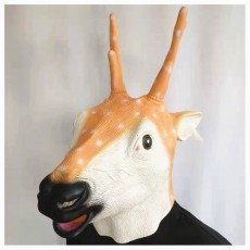 New Sika Deer Mask Christmas Reindeer Headgear Halloween Latex Mask Animal Deer Head Playing Props Party