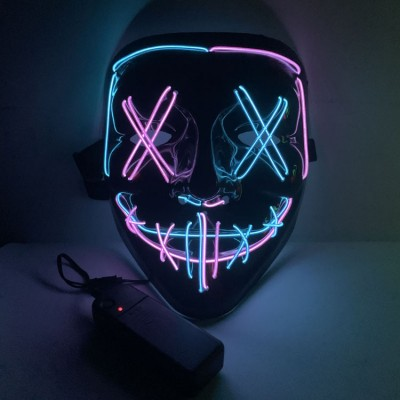 Halloween Two-color Glowing Grimace Mask With Blood Horror Thriller LED Glowing Mask EL Mask