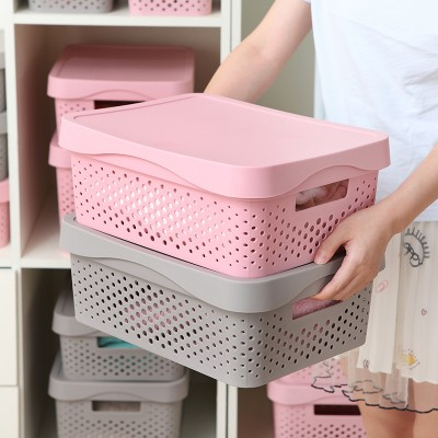 New European-style Plastic Storage Basket Rectangular Superimposed With Lid Hollow Rattan-like Kindergarten Storage Box