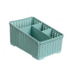 Rattan Desktop Storage Box Plastic Sundries Remote Control Bedroom Double Row Stationery Cosmetics Storage Organizer