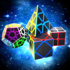 ZCUBE Black Knight Gift Box Black Carbon Fiber Series 2nd and 3rd Pyramid Rubik's Cube Five-piece Rubik's Cube