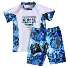 2020 New Children's Swimwear Boys Older Children 10-15 Years Old Sunscreen Half Sleeve Split Suit Swimwear
