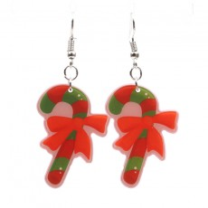 New Christmas Tree Earrings Acrylic Christmas Snow Bells People Cane Gift Box Earrings