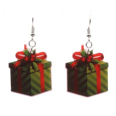 New Christmas Tree Earrings Acrylic Christmas Snow Bells People Cane Gift Box Earrings