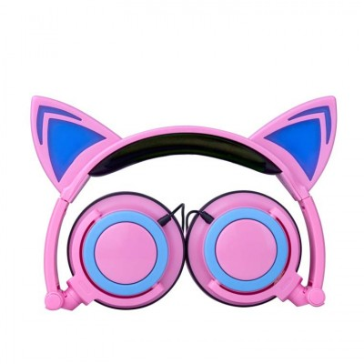 New Children's Cartoon Cat Ears Head-mounted Luminous Foldable Mobile Phone Music Headphones