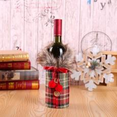 Christmas Wine Set Hotel Dining Decoration Restaurant Decoration Props Bow Wine Bottle Set