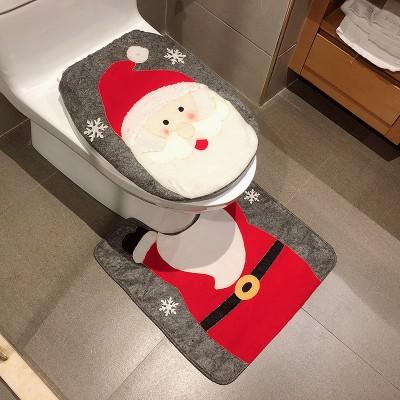 Christmas Toilet Two-piece Set Exquisite Christmas Snowman Elk Toilet Seat Cushion Santa Claus Toilet Cover