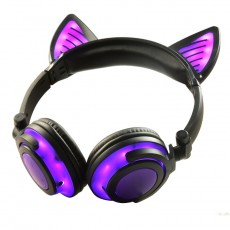 Overall Light-emitting Rechargeable Wireless Bluetooth Mobile Phone Computer Headset Folding Headset With Cat Ears Design