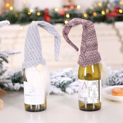 Christmas Decorations Wine Bottle Bag Christmas Forest Man Red Wine Bottle Decoration Holding Hands Red Wine Set Champagne Bottle Holding