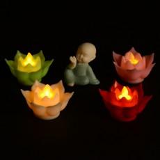 LED Electronic Candle Lotus Lamp Swing Movement Creative Wishing Lamp Buddhist Plastic Simulation Candle