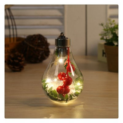 LED Transparent Christmas Ball Christmas Ornament Christmas Tree Decoration Pendant Plastic Bulb Ball