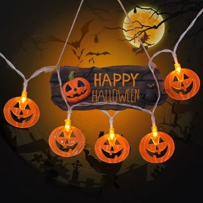 LED Lantern String Lights Starry Lights Halloween Decoration Ins Waterproof Battery Flat Pumpkin Lamp String