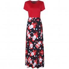 European And American Christmas Women's Halloween Print Short-Sleeved High-waisted Long Skirt Slim Dress