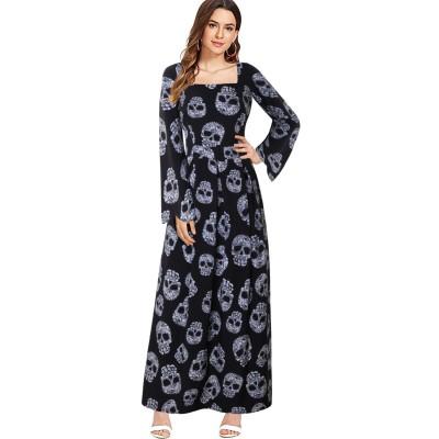 2020 Autumn And Winter In Style Long Skirt Halloween Costume Skull Long Sleeve Dress For Women
