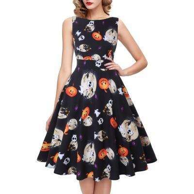 Halloween Pumpkin Skull Print Round Neck Sleeveless Dress With  Large Skirt Round Neck Sleeveless Mid-waist For Women