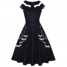Halloween Bat Embroider Oversize Dress Style With Retro Design Pattern Design And Embroidery Craft For Women