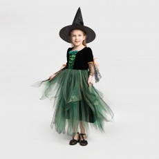New Halloween Costumes Net Gauze Skirt Children's Witch Performance Costume Witch Dress With Hat