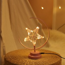 ins Explosion Model Nordic Led Girl Heart Star Wrought Iron Night Light Birthday Modeling Decorative Lamp