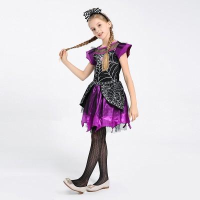Children's Halloween Costumes Fancy Dress Party Cosplay Girls Beautiful Spider Queen Dress Up Costume