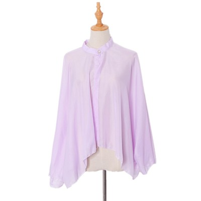 2020 New Style Driving And Cycling Button Pure White Sun Protection Clothes Ladies Chiffon Shawl Cloak Sunshade