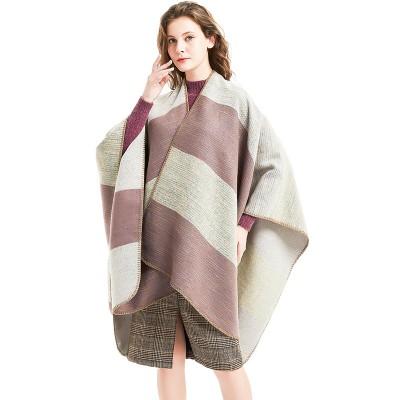 New Style Triangle Stitch Big Overwrapping Stripe Split Shawl Section Dyed Cashmere Lady's Cloak Big Shawl