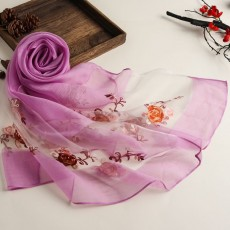 New Spring And Summer Embroidered Ethnic Style Solid Color Scarf Women's Organza Multi-purpose Sunscreen Silk Scarf Shawl