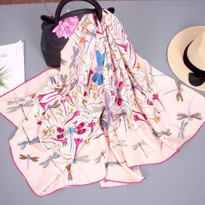 Silk Scarf Women Autumn And Winter Wild Blended Big Square Scarf Thin Shawl Hangzhou Silk Scarf Women Travel Towel