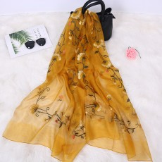 Mulberry Silk Wool Scarf Shawl Female Embroidery Spring And Autumn Silk Scarf Wild Long Scarf Tulip
