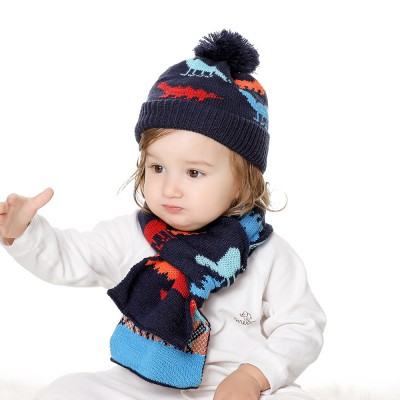 Children's Hats And Scarves Suit Europe Snd America Warm Baby Christmas Gifts Cartoon Jacquard Hat Scarf