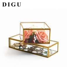 Square Edging Glass Storage Box Jewelry Box Display Props Eternal Flower Glass Box Valentine's Day Gift Box