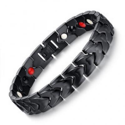 Classic Black Magnet Stainless Steel Bracelet, Titanium Germanium Magnetic Four In One Steel Bracelet