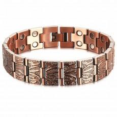 3500 Gauss Red Copper Bracelet Pure Copper Bracelet Double Row Strong Magnetic Dragon Pattern Bracelet For Men