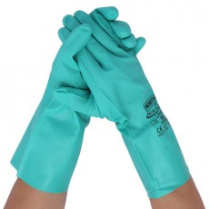 Honeywell LA102G Nitrile Chemical Acid and Alkali Resistant Gloves Oil and Waterproof Household Gloves - Green