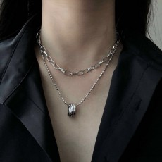 Korean Multilayer Ring Temperament Necklace Cold Sexy Clavicle Chain Necklace Hip Hop Necklace