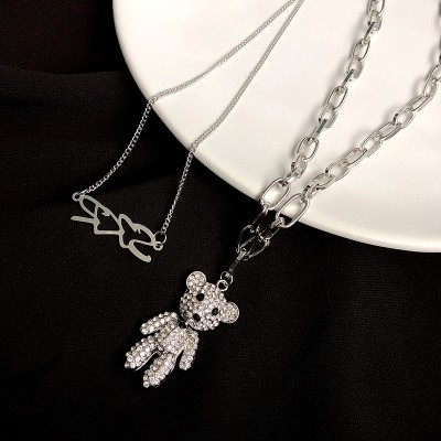 Celebrity Same Paragraph Double Bear Pendant Sweater Chain Long Necklace Female Trendy ins Hip Hop Accessories Jewelry