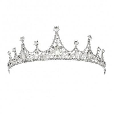 Bridal Wedding Crown Baroque Simple Bridal Crown Diamond Alloy Headband Wedding Accessories