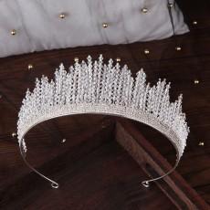 Bridal Tiara Crown Handmade Crystal Silver Headband Princess Crown Wedding Accessories