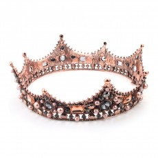 Bridal Headwear European And American Hot Style Retro Round Crown Baroque Crystal Pearl Alloy Crown Photo Studio Jewelry