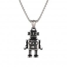 Hip Hop Geometric Funny Robot Pendant Fashion Retro Men and Women Titanium Steel Necklace