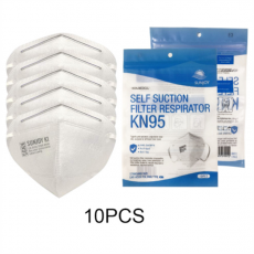 SUNJOY KN95 Protective Respirator 5-ply Earloop Masks Pack Of 10