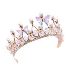 Golden Baroque Butterfly Princess Crown Hair Accessories Headband Headdress Diamonds Birthday Crown