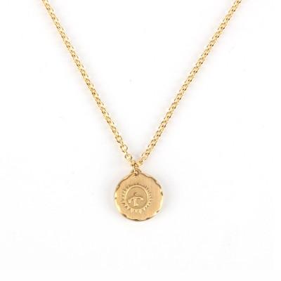 Medieval Gaucho Sun Bird Small Gold Cake Pendant Necklace Simple Retro Couple Sweater Chain Jewelry